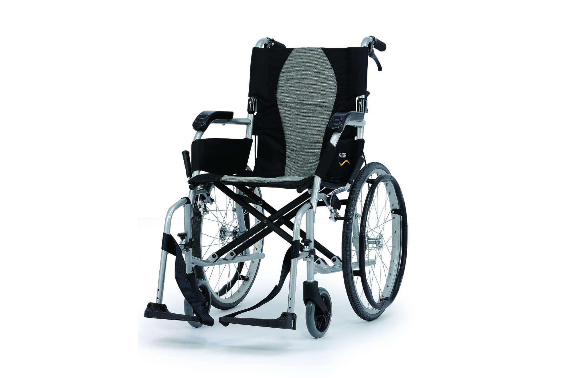 Cadeira de rodas manual, vista de perfil
