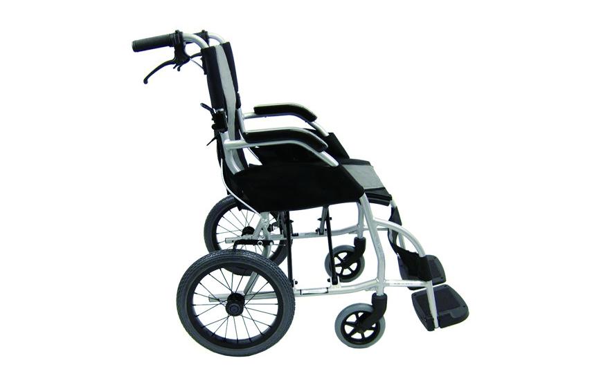 Cadeira de rodas manual, com vista lateral