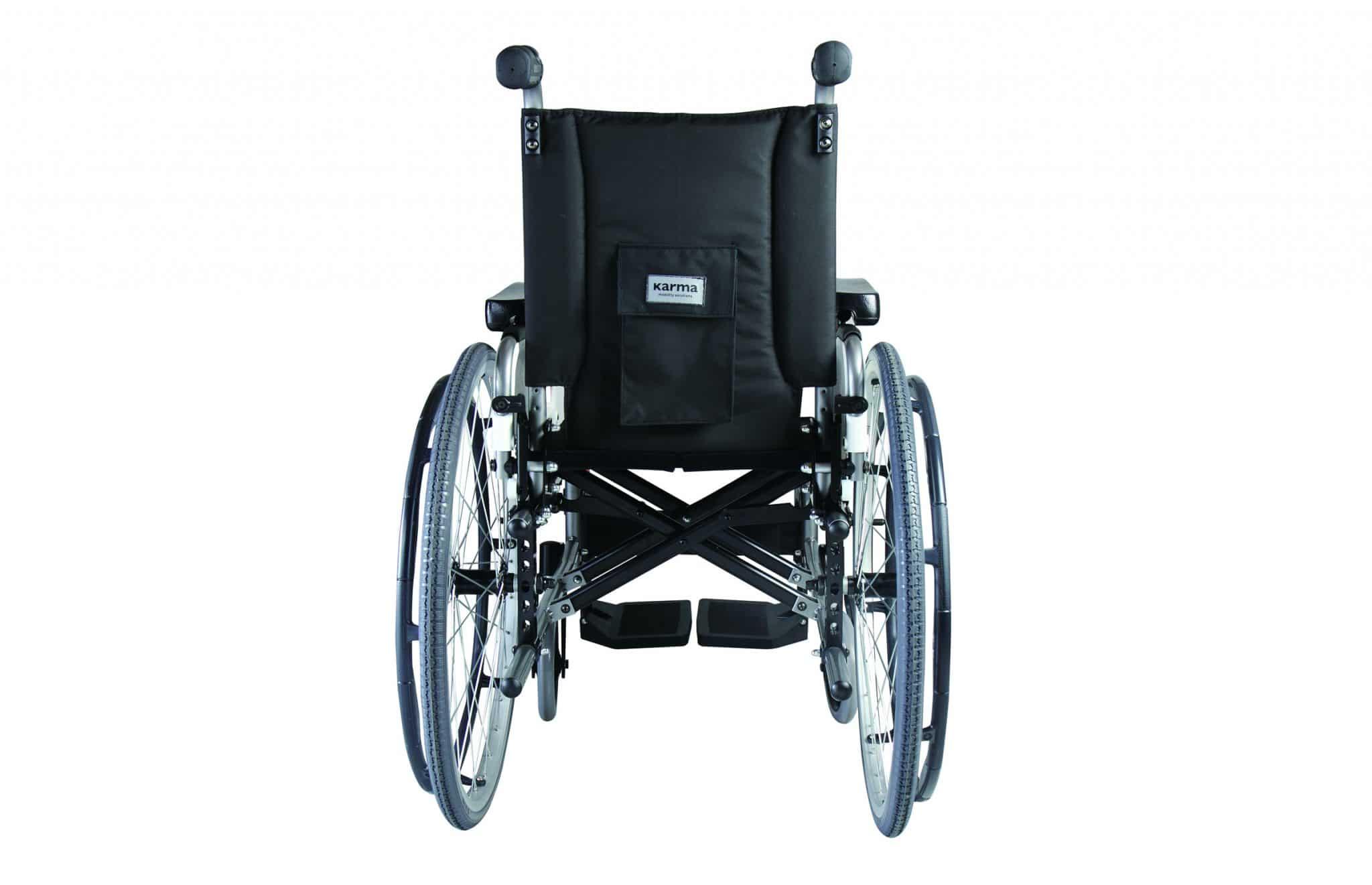Cadeira de rodas manual, com vista traseira