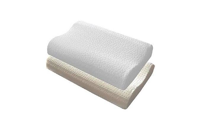 Almofada e capa de almofada branca, vistas de perfil