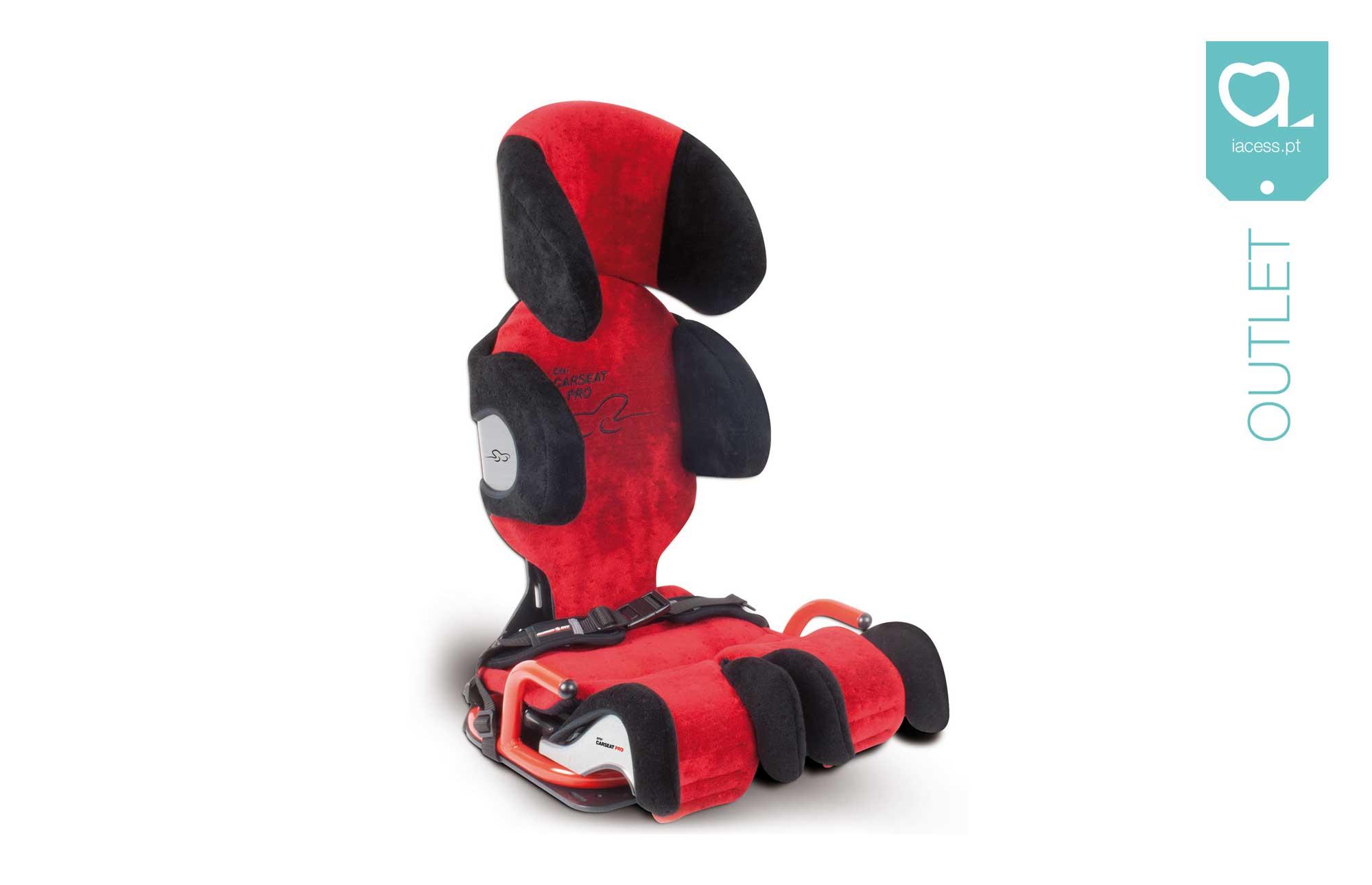 Assento automóvel Carseat Mini 2 vermelho um equipamento para crianças com necessidades especiais, com apoio de cabeça envolvente e homologada para transporte
