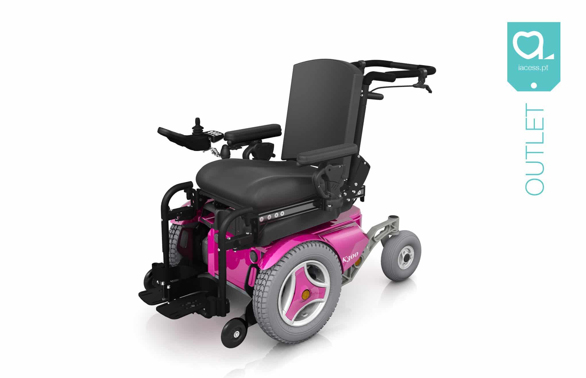 Cadeira de rodas elétrica pediátrica cor de rosa
