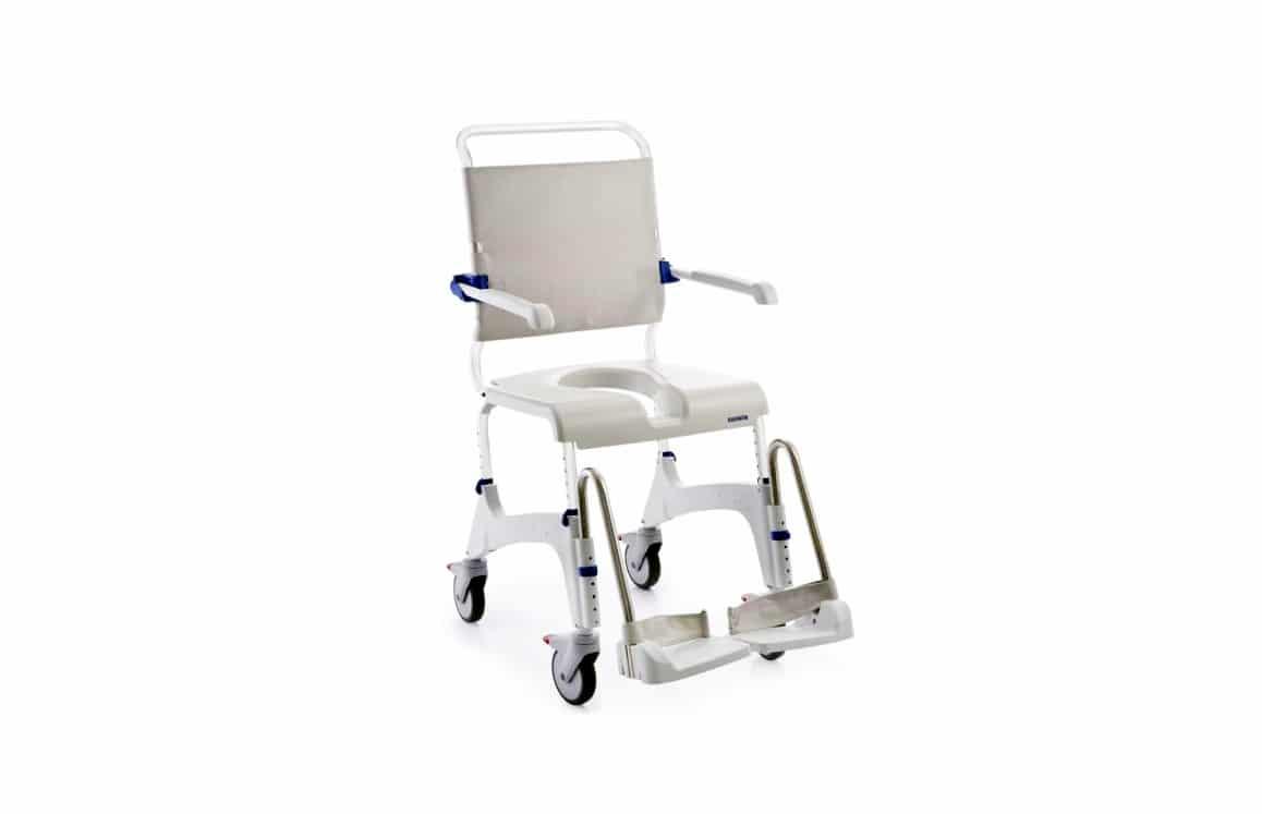 Cadeira de banho branca vista de perfil