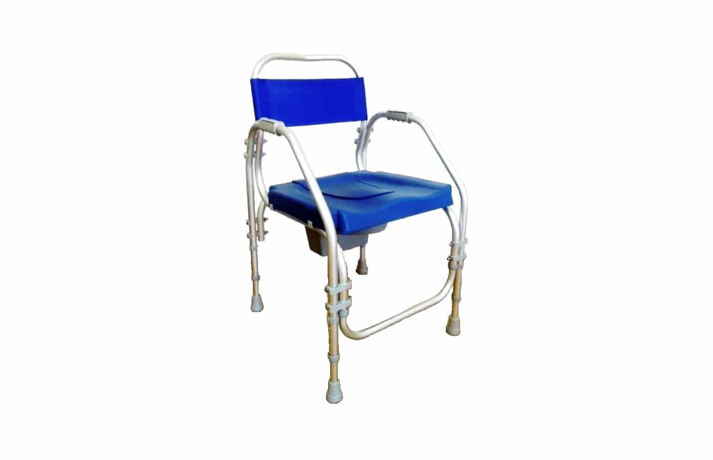 Cadeira de banho azul com estrutura em alumínio, vista de perfil