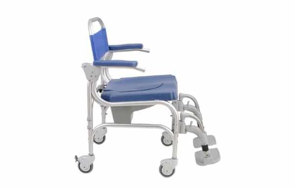 5564897a7 Cadeira de banho com estrutura em alumínio, com vista lateral