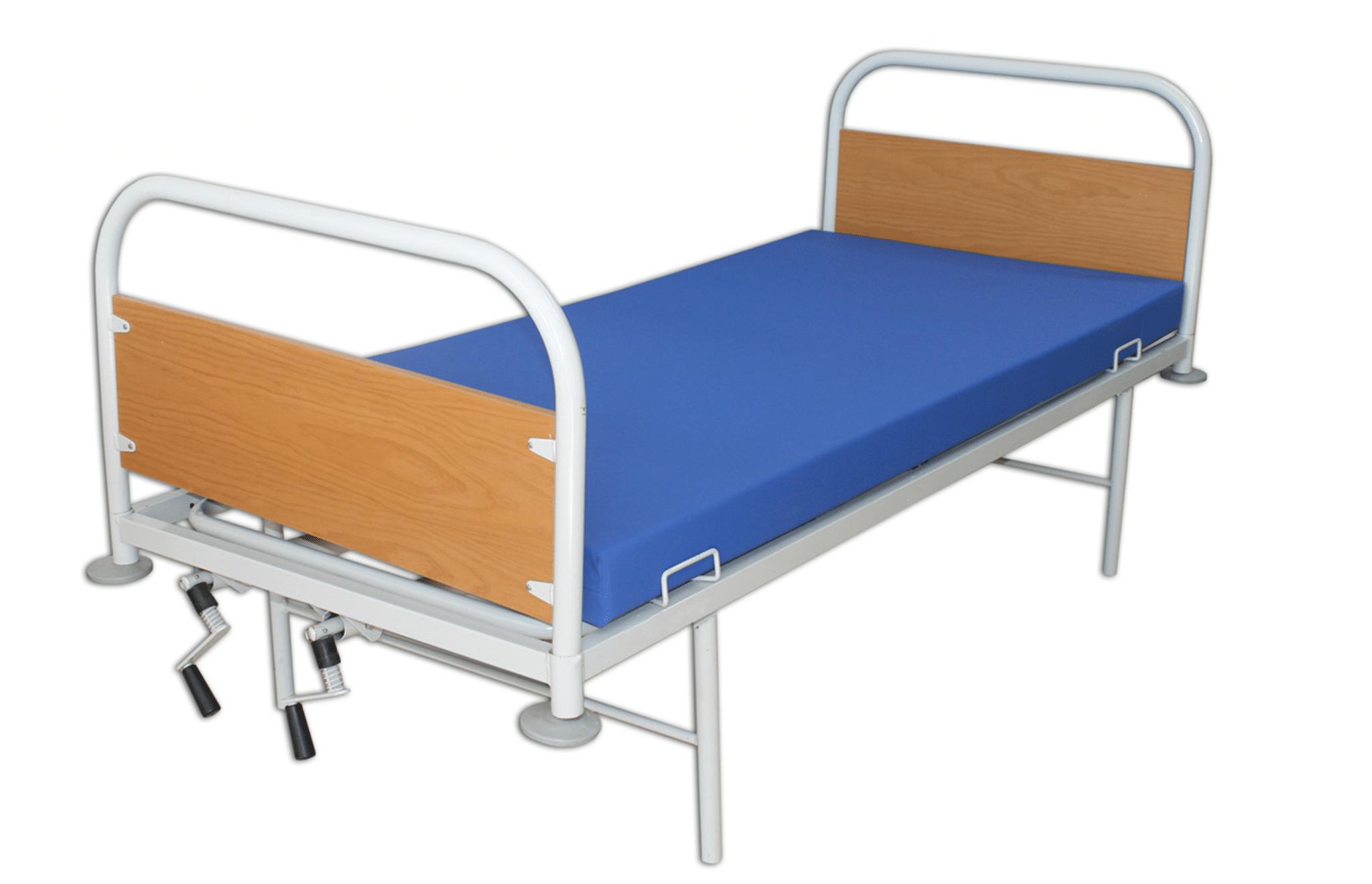 cama em madeira e alumínio com colchão azul
