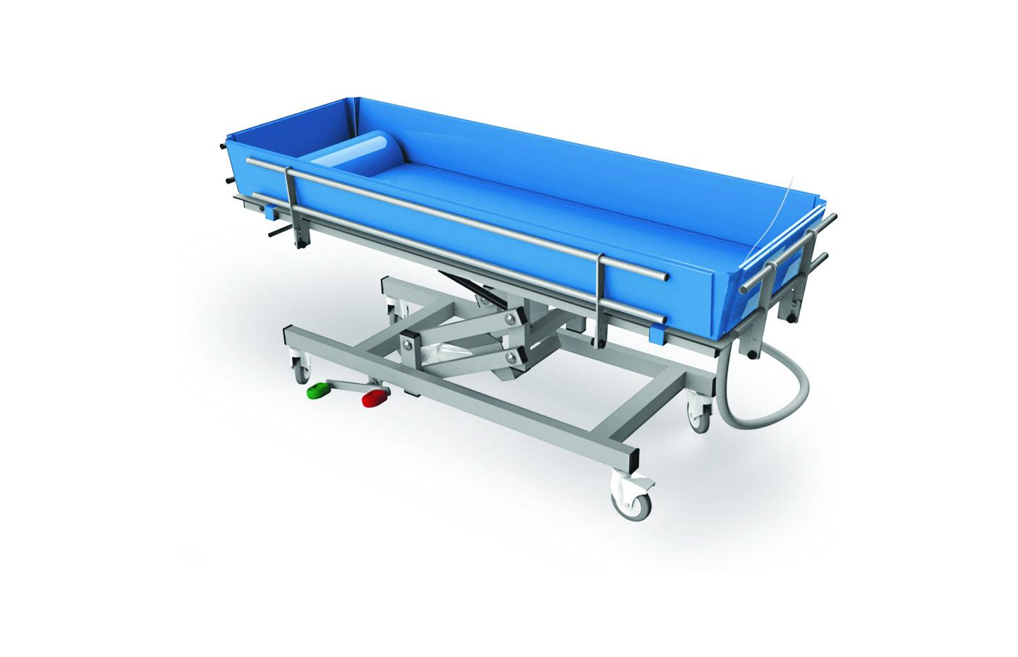 Carro de banho azul com estrutura em alumínio vista de perfil