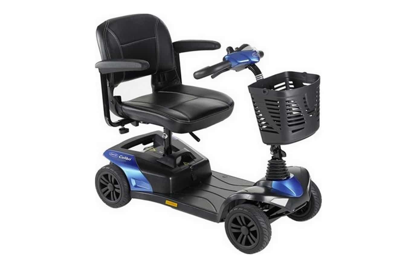 Scooter azul e preta vista de lado