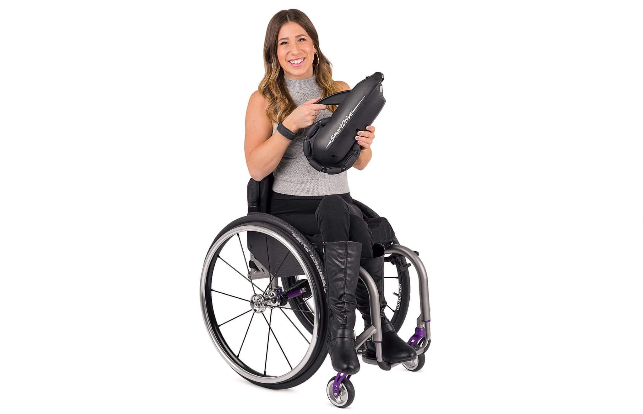 Utilizadora de cadeira de rodas com smart drive