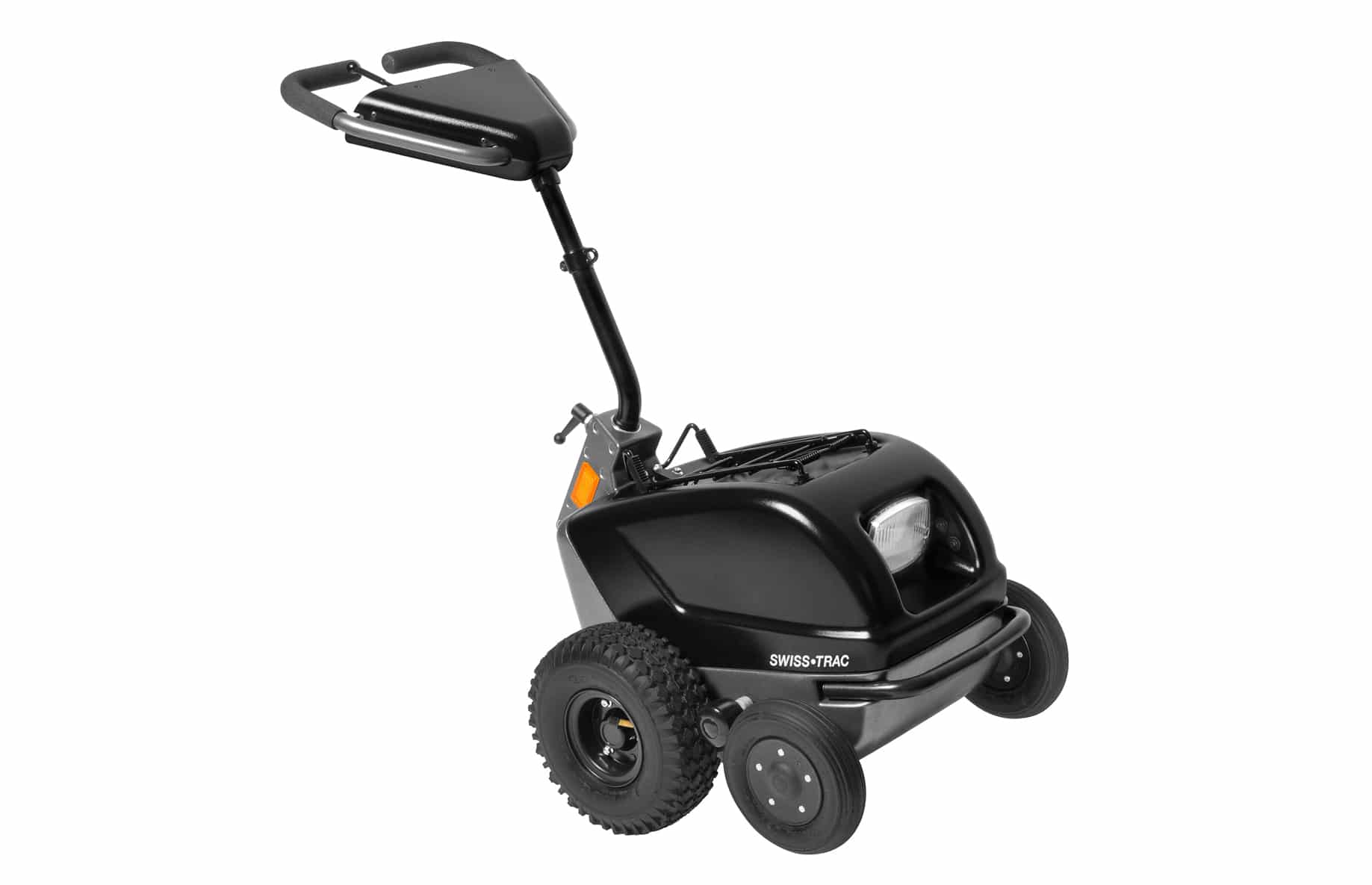 SWISS-TRAC da Atec, um com sistema de propulsão, potente e eficiente que pode ser acoplado a cadeiras de rodas manuais. Fácil de manobrar e bastante seguro.