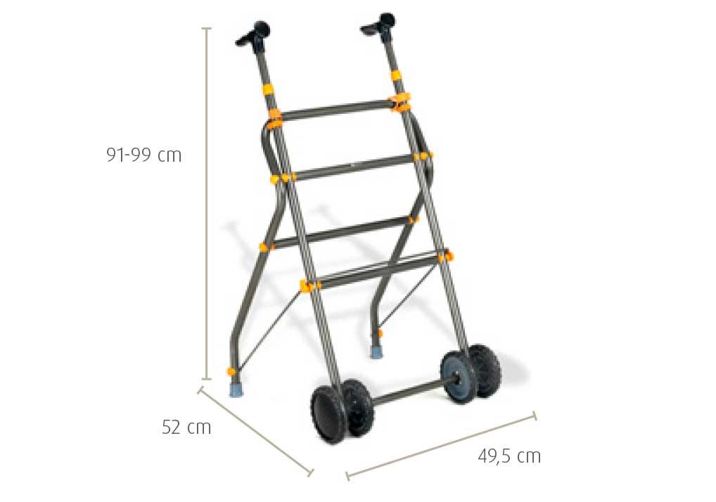 Medidas de andarilho com rodas em alumínio e pormenores em amarelo.