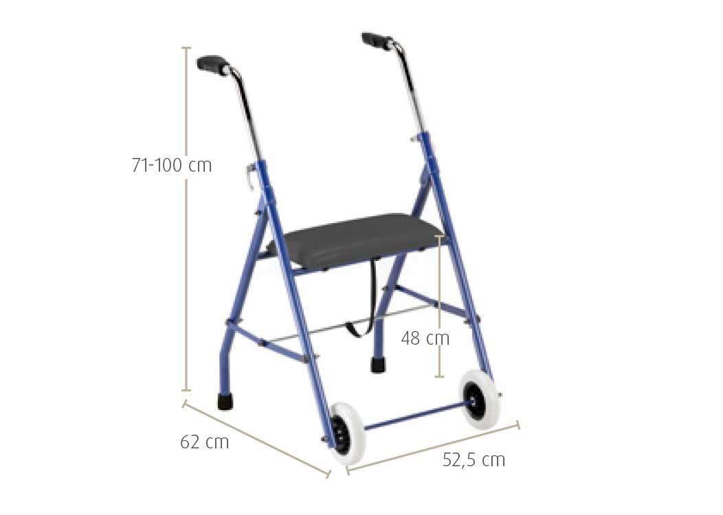Andarilho de aço com rodas e assento baixo sunrise medical- medidas