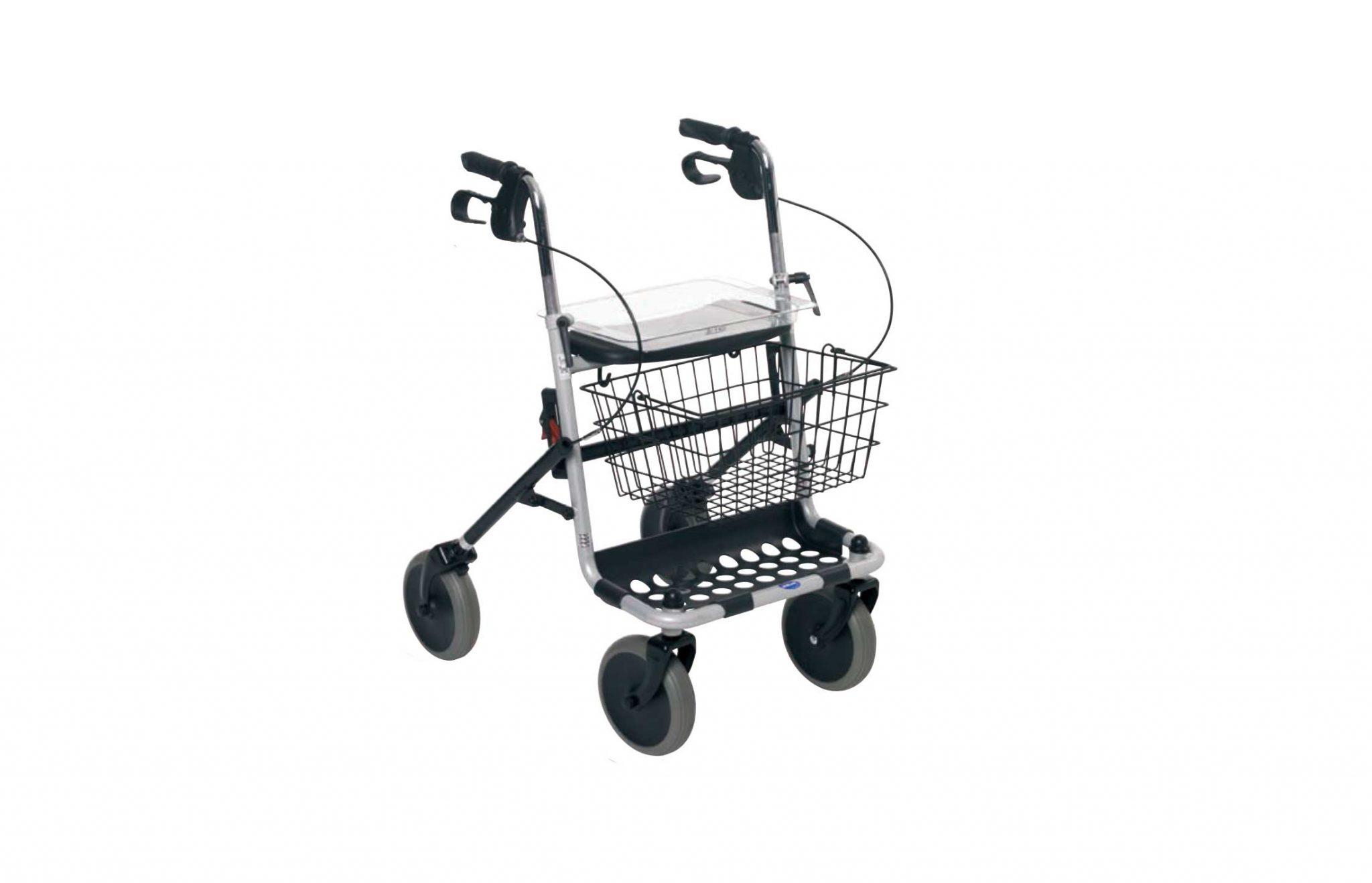 Andarilho de rodas, com tabuleiro e cesto, visto de perfil