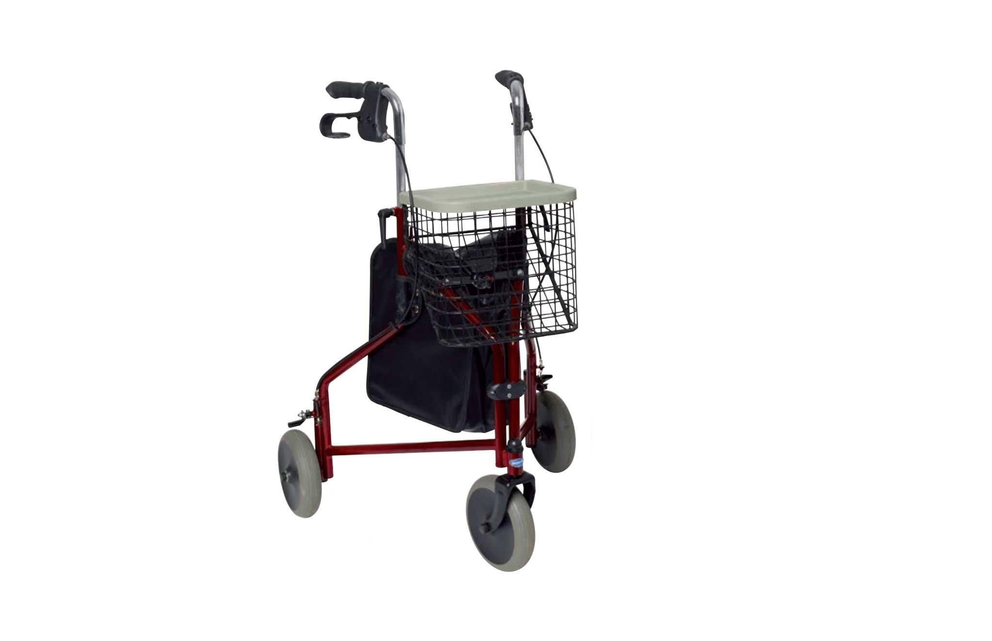 Andarilho com estrutura vermelha, com cesto, visto de perfil.