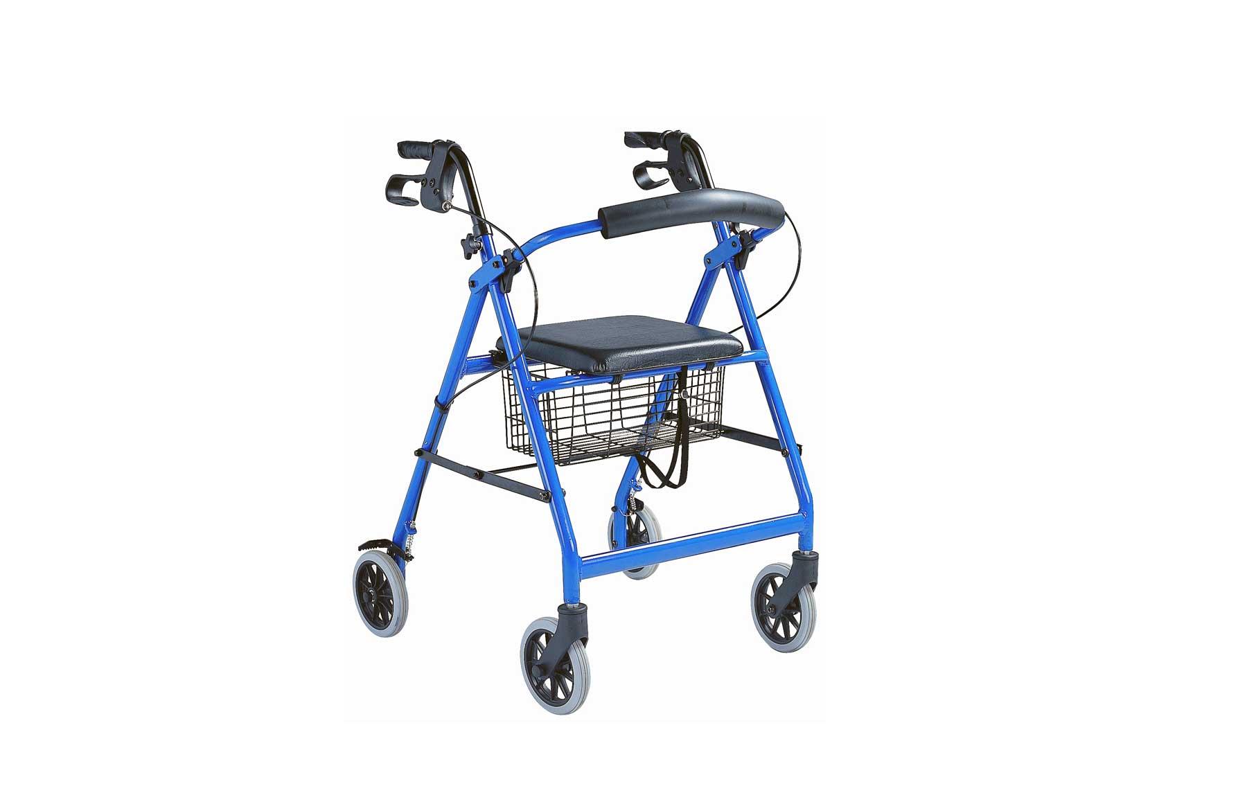 Andarilho com estrutura azul, e assento preto, visto de perfil