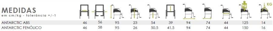 cadeira de banho sanitaria antarctic medidas