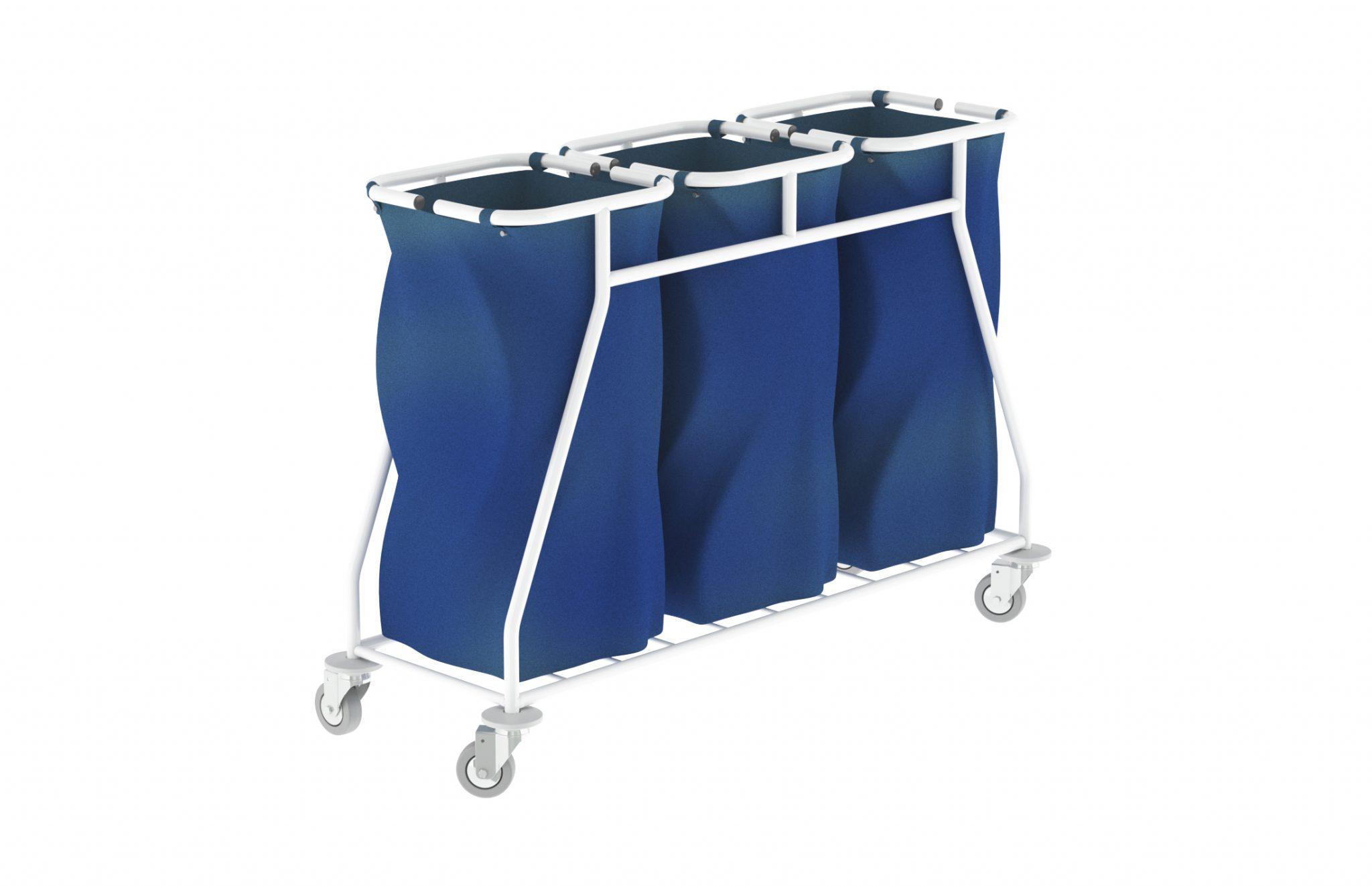 Carro de roupa suja triplo, com estrutura em aço. Possui três sacos, em tela plastificada. Disponível em diferentes materiais e acessórios.
