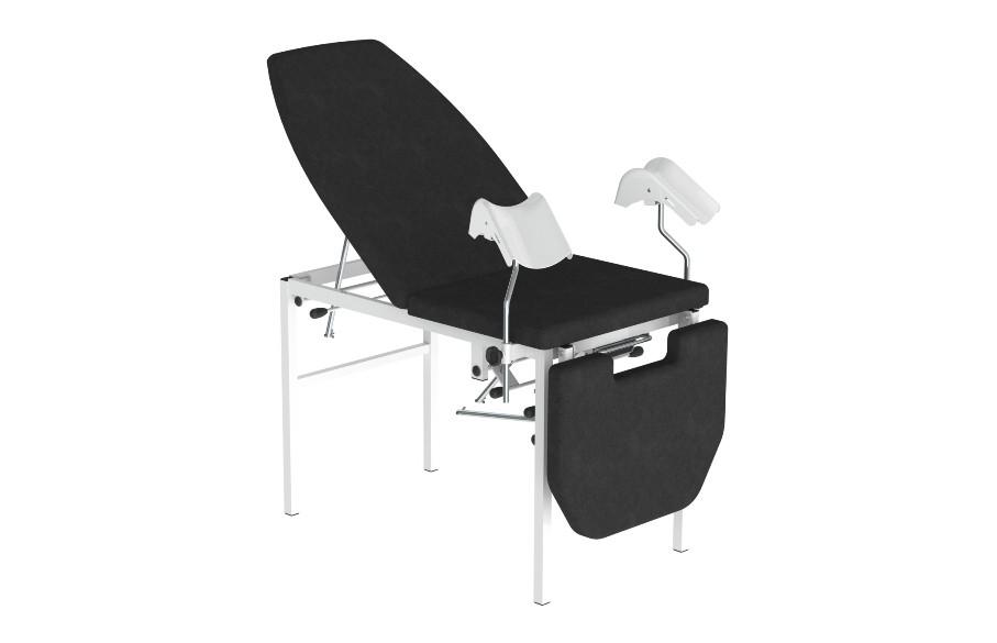 Marquesa ginecológica tri-partida, com ajuste de pernas e cabeceira elétrico. Estofos em espuma e napa. Estrutura em inox polido ou aço pintado.