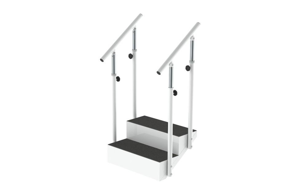 Módulo Degrau Duplo da Hcaresol, com estrutura em aço, degraus em chapa metálica com tela antiderrapante e corrimão regulável em altura.
