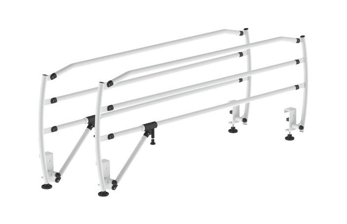 Par de grades universais metálicas da Hcaresol com estrutura em tubo de aço pintado ou inox. Rebatíveis e com fecho de segurança.