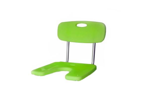 Assento de Duche Poliban da Orthos XXI , em alumínio e termoplástico antideslizante, com orificio central. Regulável em altura. Modelo com costas e assento, sem pernas.