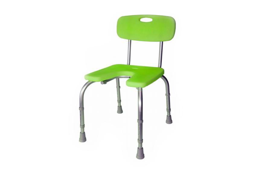 Assento de Duche Poliban da Orthos XXI , em alumínio e termoplástico antideslizante, com orificio central. Regulável em altura. Modelo com assento, pernas e encosto.