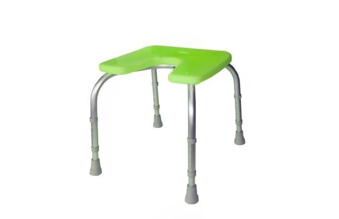 Assento de Duche Poliban da Orthos XXI , em alumínio e termoplástico antideslizante, com orificio central. Regulável em altura. Modelo com assento, e pernas, sem encosto