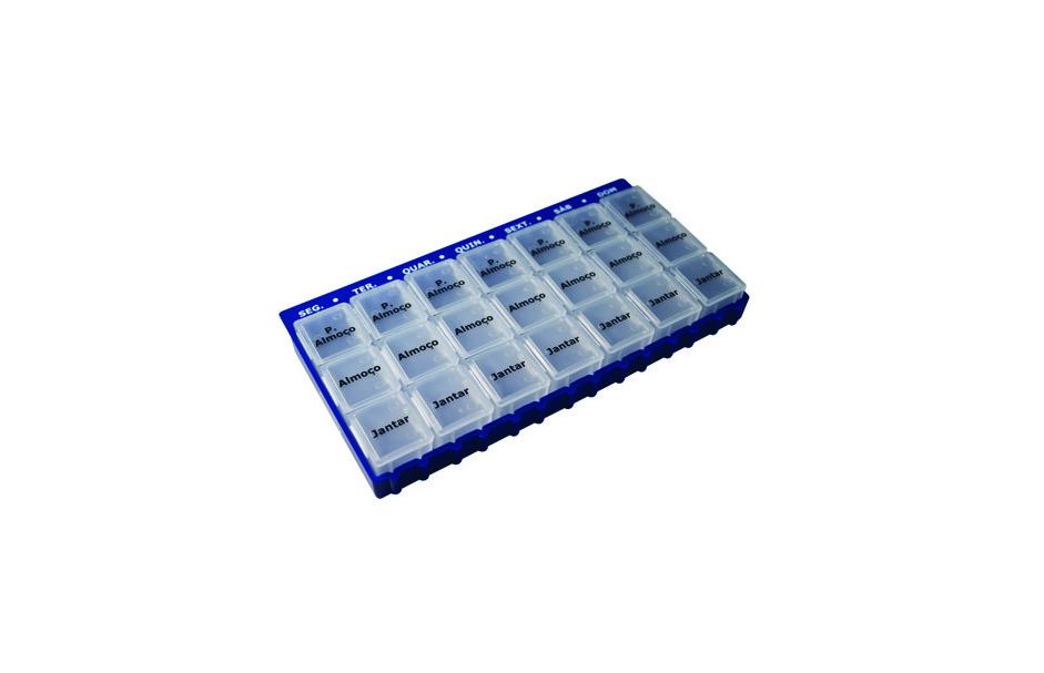 Caixa para medicamentos da Orthos XXI organizada para uso semanal com compartimentos para três tomas diárias. De tamanho médio.