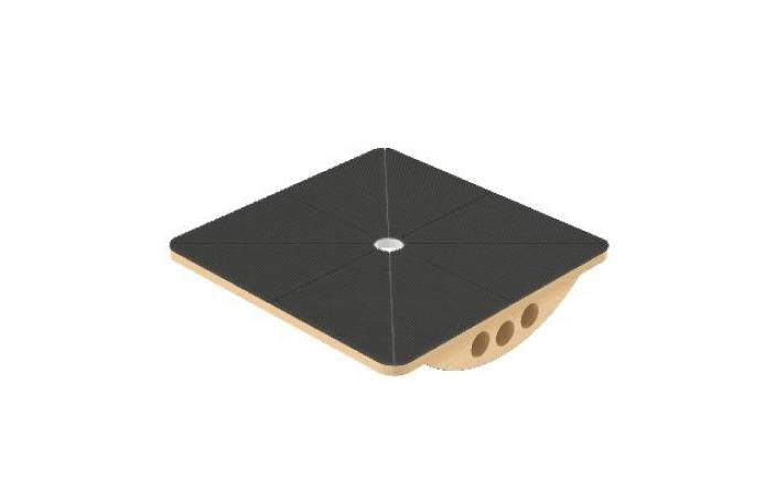Tábua de equilibrio da Hcaresol com estrutura em contraplacado e base em madeira faia. Material de Fisioterapia revestido a tela antiderrapante com marcação