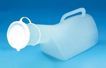 Urinol masculino com a parte exterior calibrada para registar o volume do conteúdo. Resistente, fácil de lavar e pode ser esterilizado em autoclave.