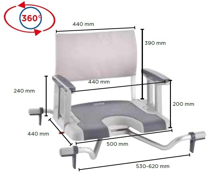 cadeira de banho giratoria aquatec sorrento medidas