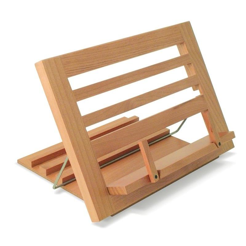 suporte de leitura em madeira